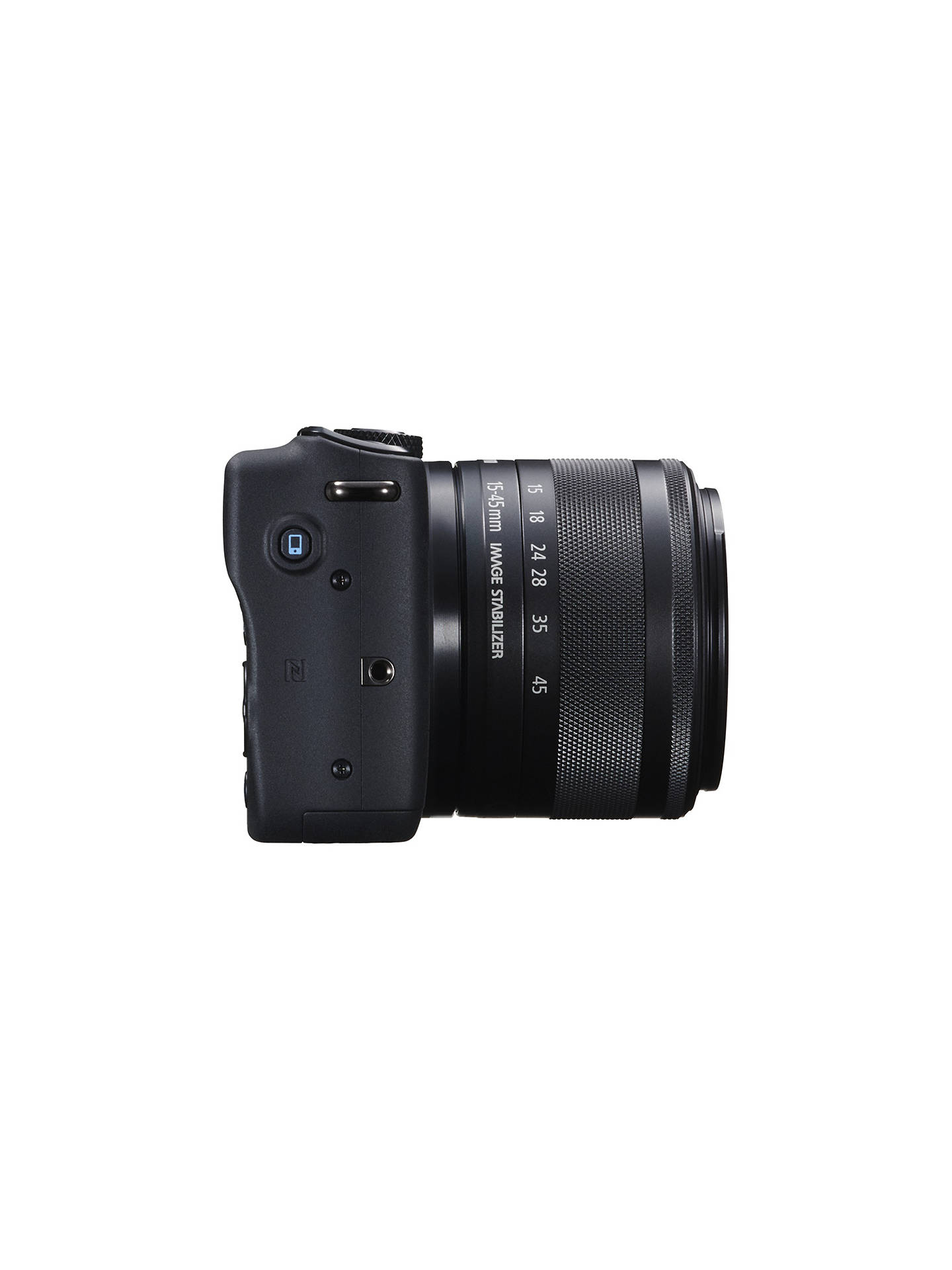 "Buy Canon EOS M10 Compact System Camera with EF-M 15-45mm f/3.5-6.3 IS STM Wide Angle Zoom Lens, HD 1080p, 18MP, NFC, Wi-Fi, 3"" Touch Screen, Black Online at johnlewis.com"