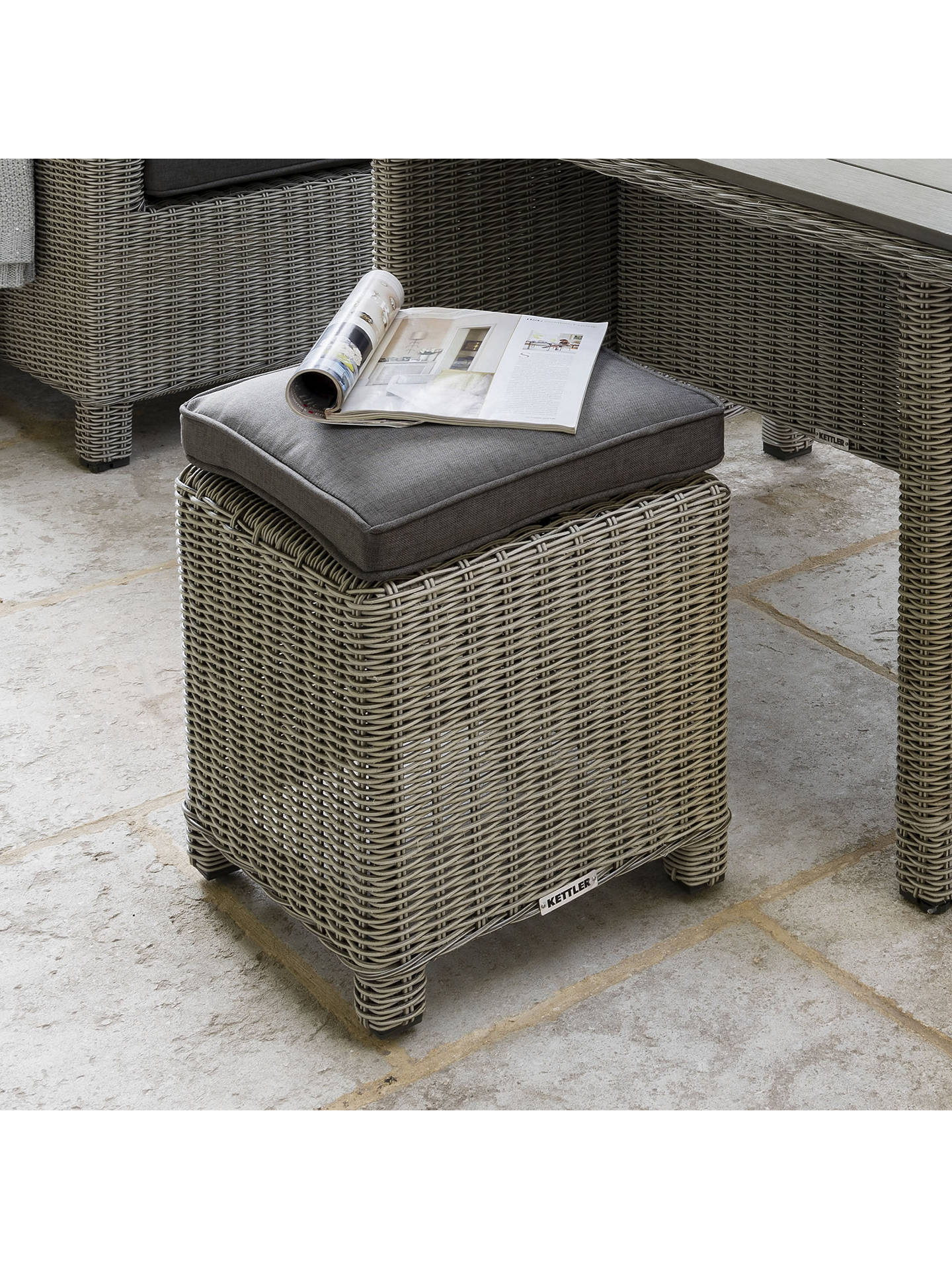 Buy KETTLER Palma Garden Foot Stool with Cushion, White Wash Online at johnlewis.com