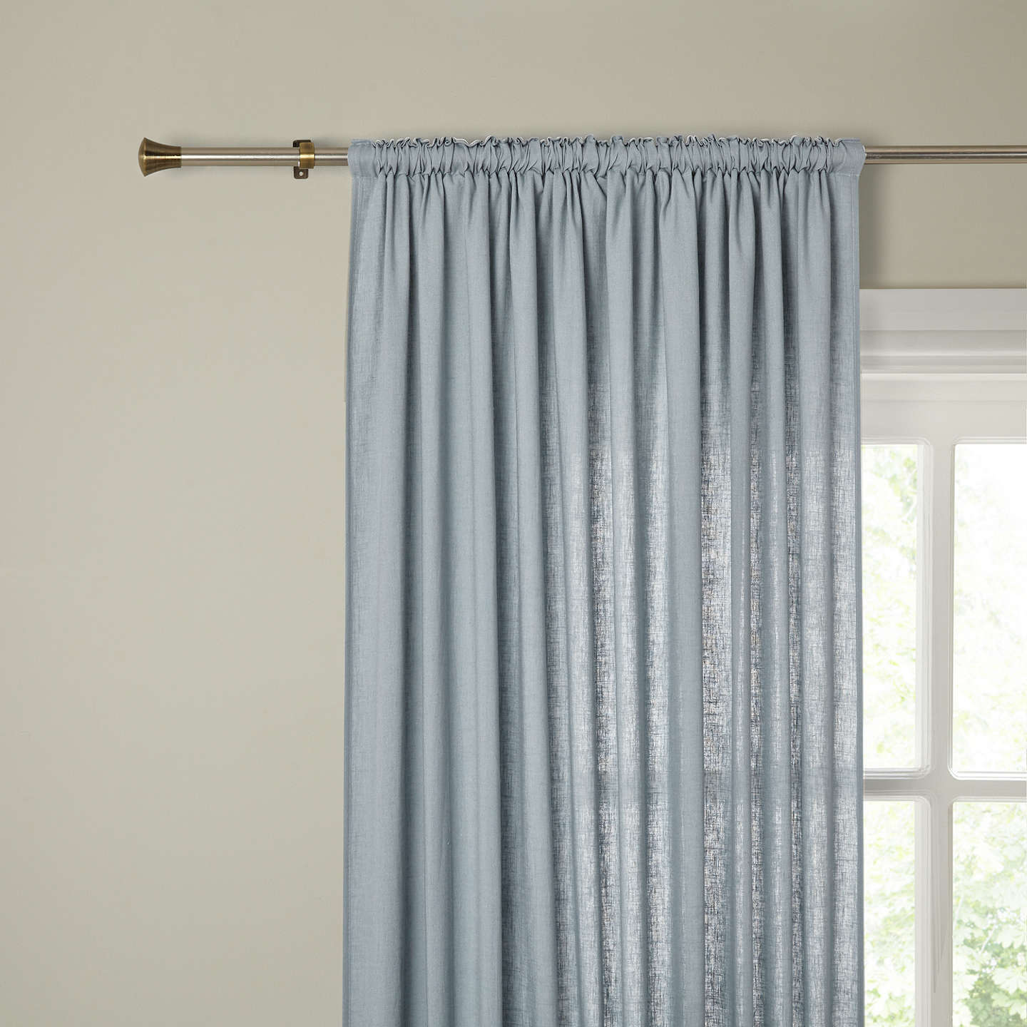 BuyJohn Lewis Washed Linen Slot Top Voile Panel, Slate, W145 x 230cm Online at johnlewis.com