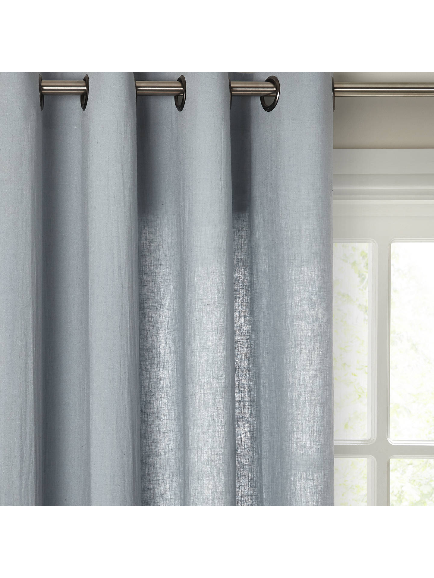 Buy John Lewis & Partners Washed Linen Voile Eyelet Panel, Slate, W145 x Drop 230cm Online at johnlewis.com