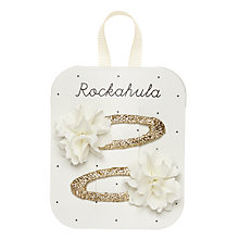 Buy Rockahula Ruffle Hair Clips, Pack of 2, Ivory/Gold Online at johnlewis.com