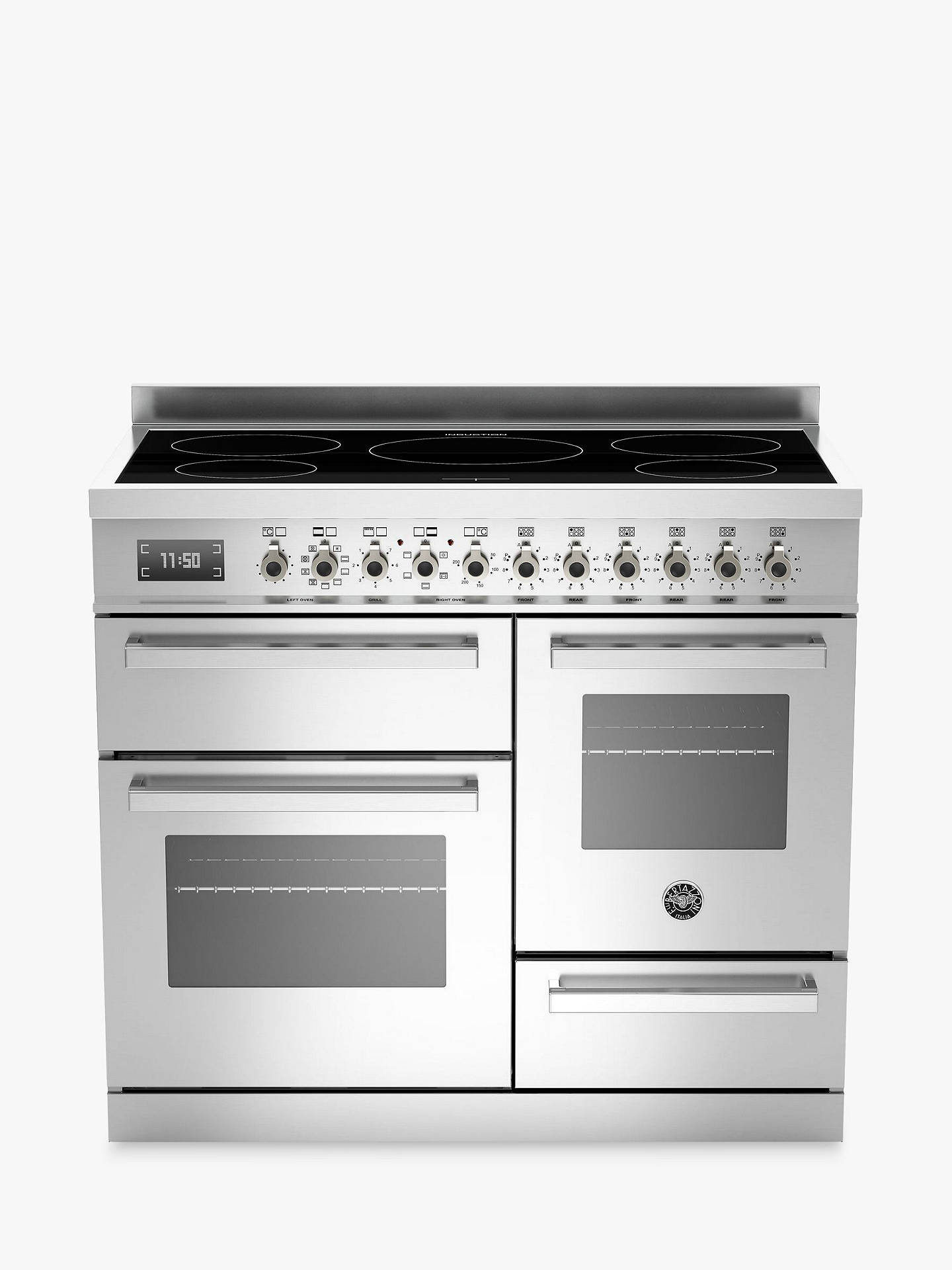 BuyBertazzoni Professional Series PRO100-5I-MFE-T-XT-XG 100cm Electric Induction XG Range Cooker, Stainless Steel Online at johnlewis.com
