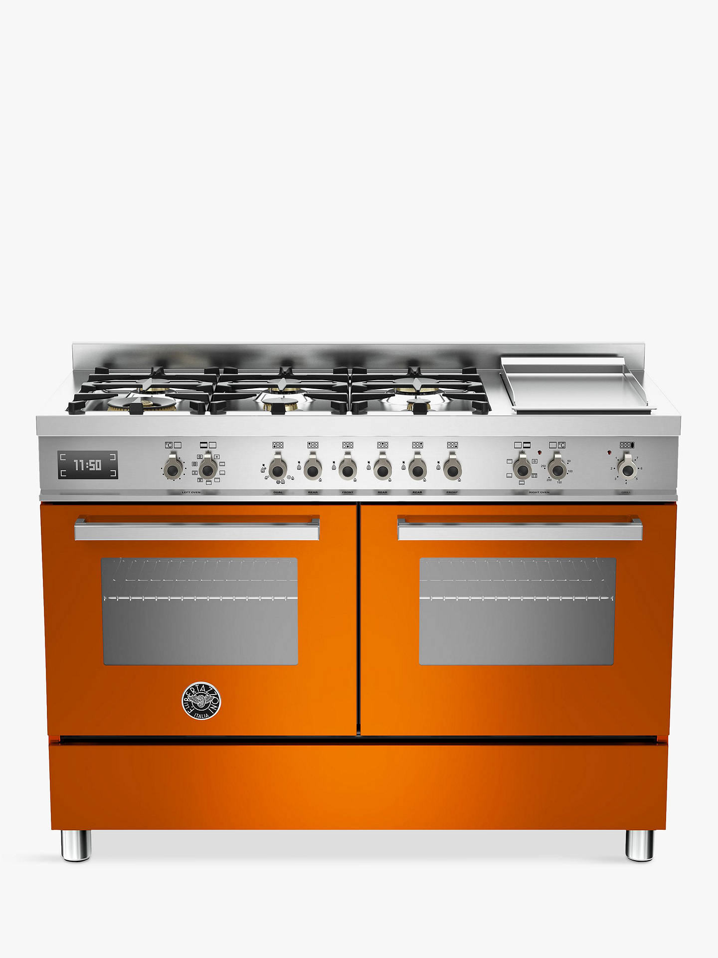BuyBertazzoni Professional Series PRO120-6G-MFE-D-ART 120cm Dual Fuel Twin Range Cooker, Orange Online at johnlewis.com
