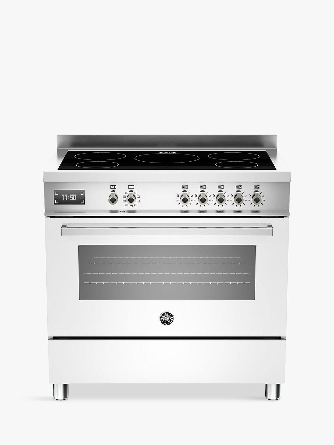Buy Bertazzoni Professional Series PRO90-5I-MFE-S-BIT 90cm Electric Induction Single Range Cooker, White Online at johnlewis.com