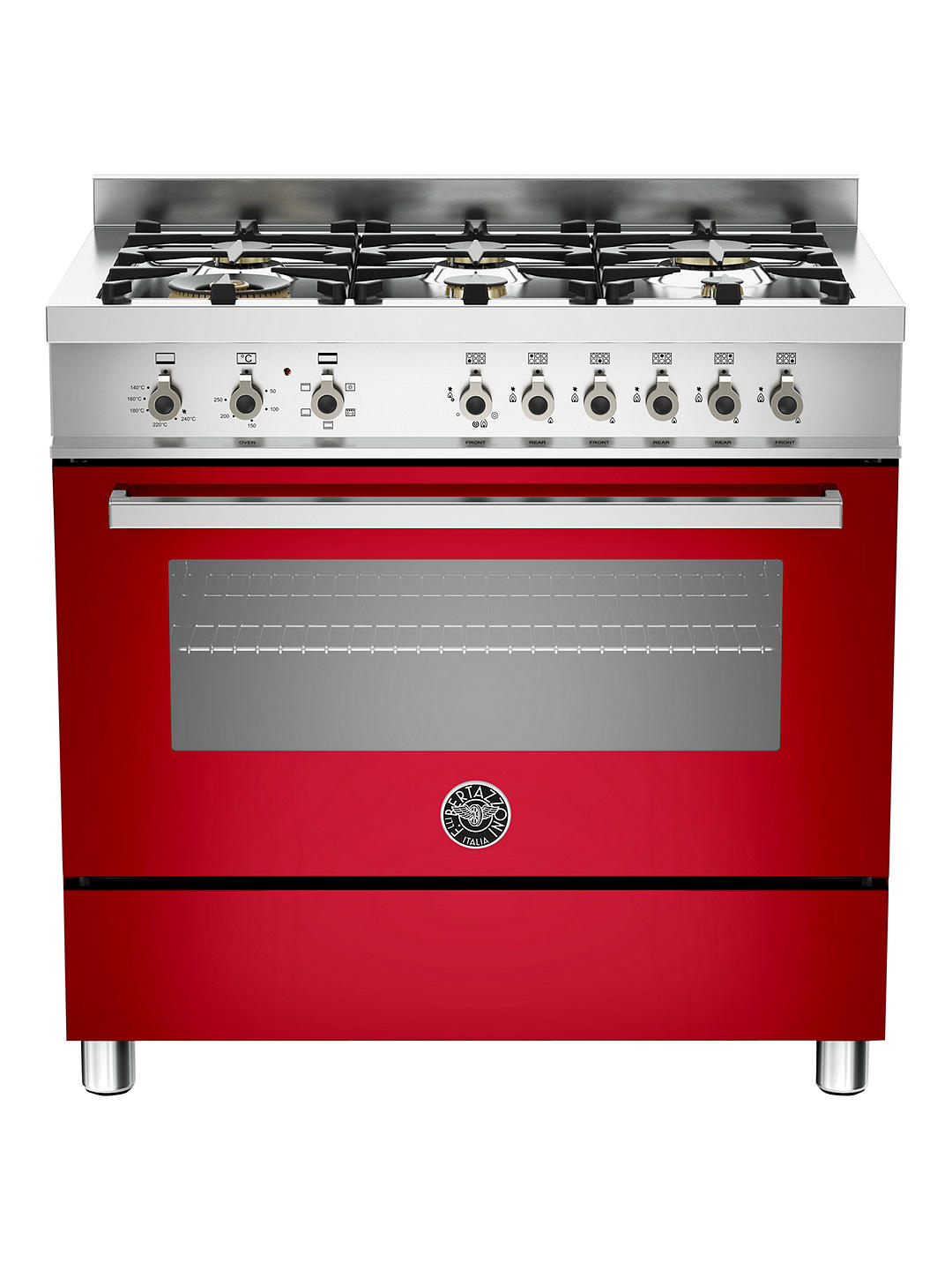 Buy Bertazzoni Professional Series PRO90-6-HYB-S-ROT 90cm Dual Energy Single Range Cooker, Red Online at johnlewis.com