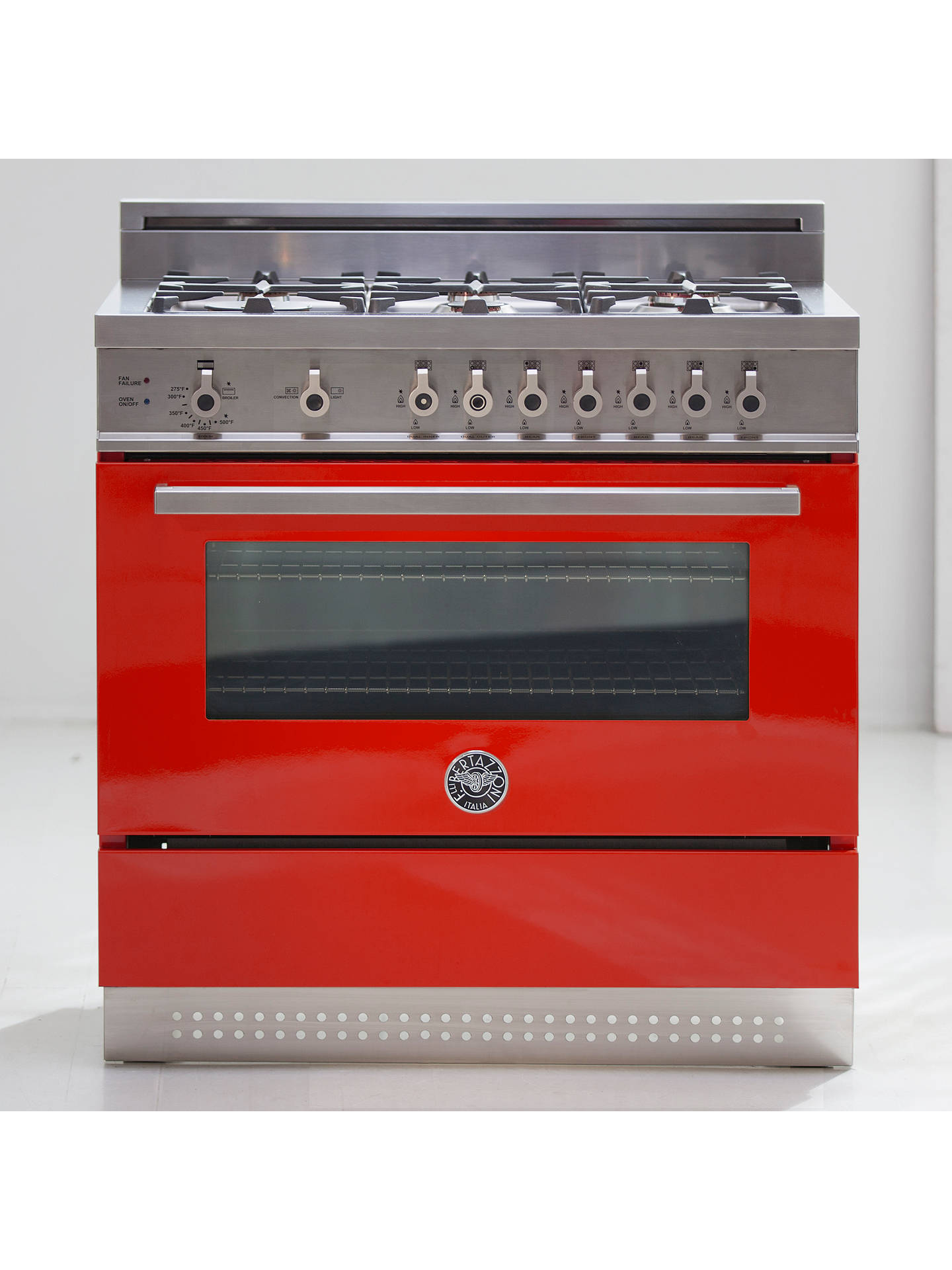 Buy Bertazzoni Professional Series PRO90-6-MFE-S-ROT 90cm Dual Fuel Single Range Cooker, Red Online at johnlewis.com