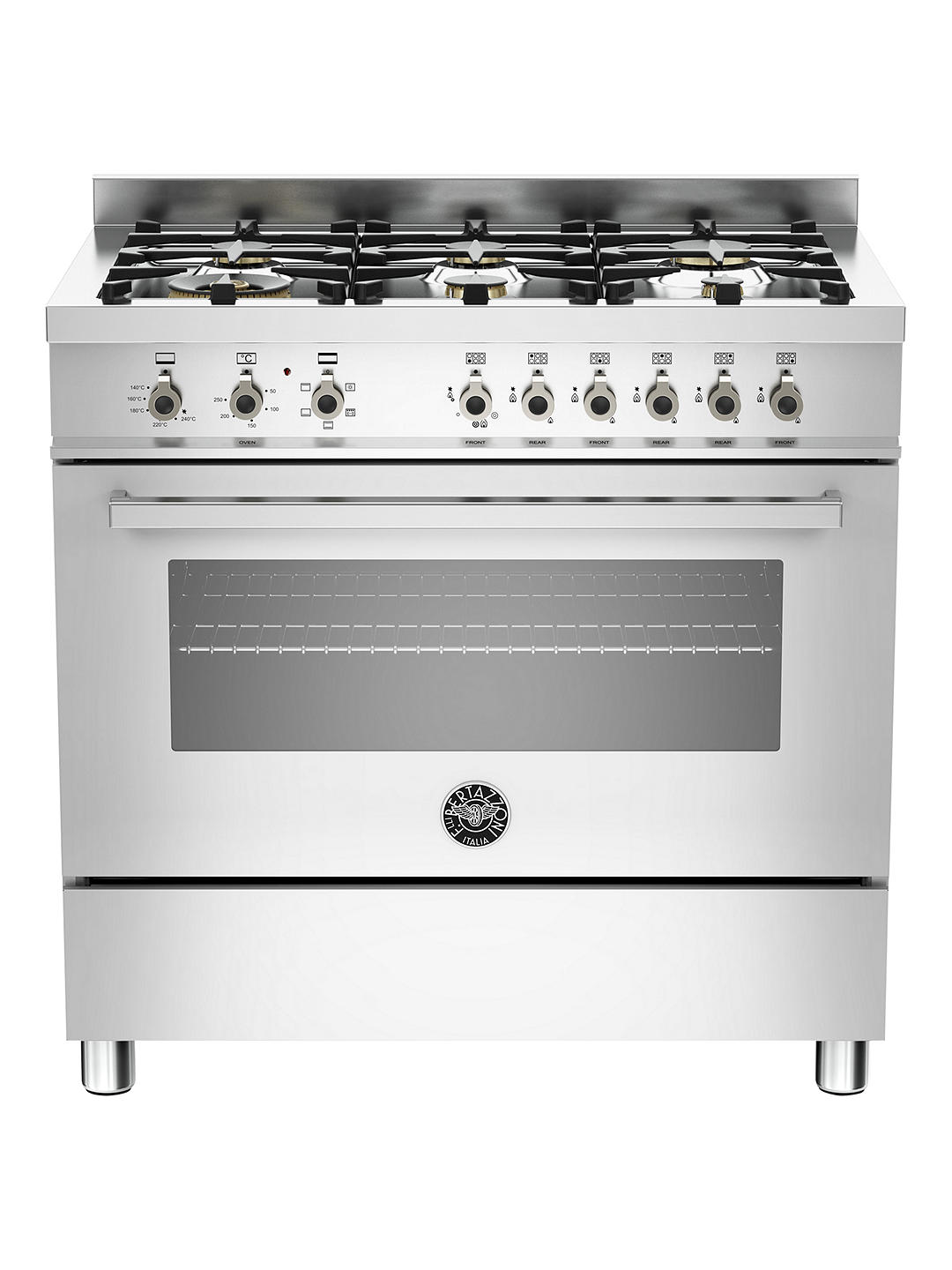 Buy Bertazzoni Professional Series PRO90-6-HYB-S-XT 90cm Dual Energy Single Range Cooker, Stainless Steel Online at johnlewis.com