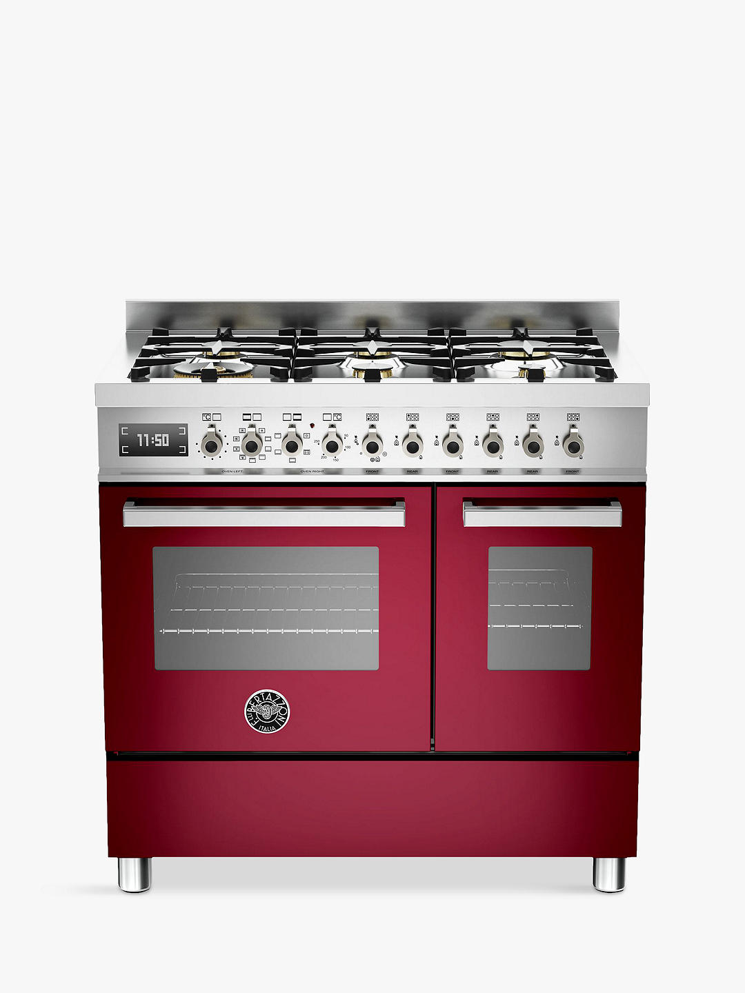 Buy Bertazzoni Professional Series PRO90-6-MFE-D-VIT 90cm Dual Fuel Twin Range Cooker, Burgundy Online at johnlewis.com