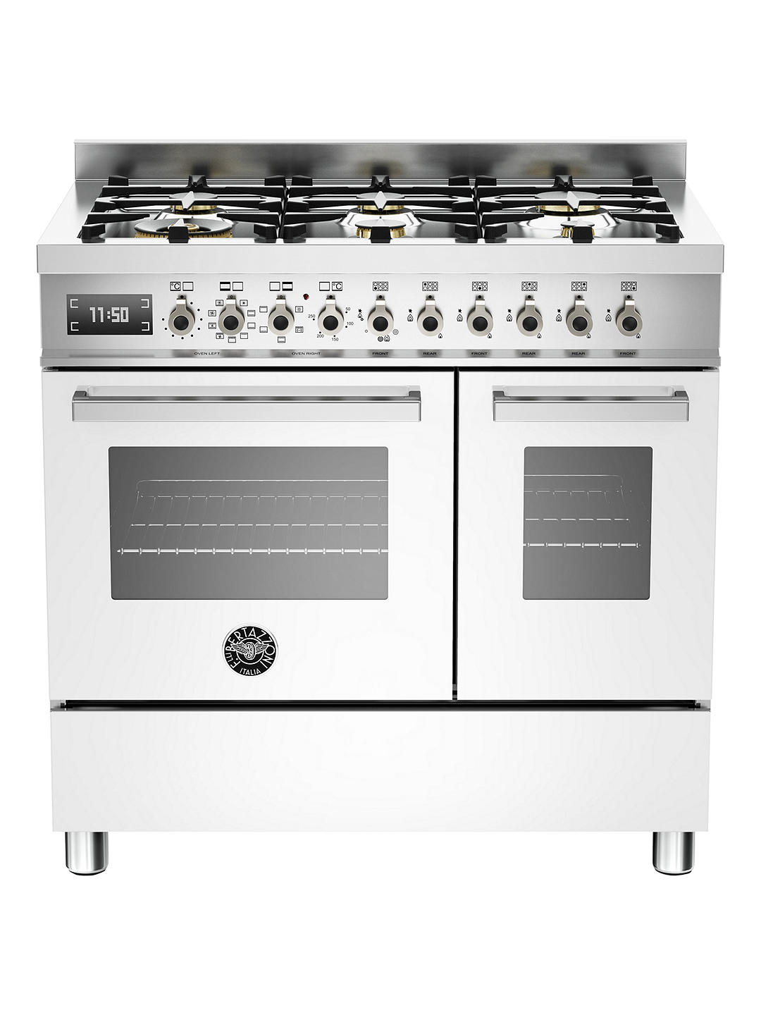 Buy Bertazzoni Professional Series PRO90-6-MFE-D-BIT 90cm Dual Fuel Twin Range Cooker, White Online at johnlewis.com