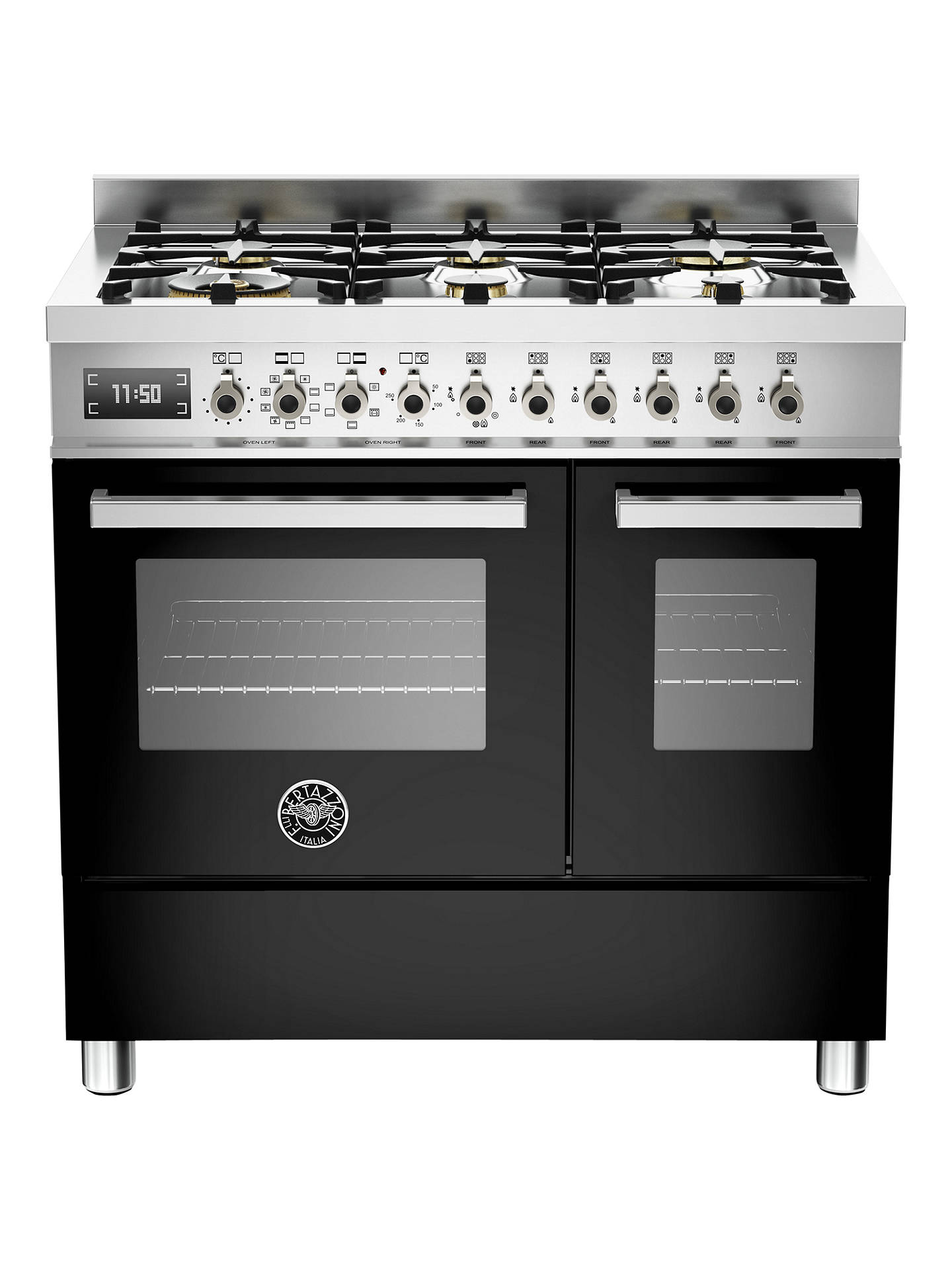 Buy Bertazzoni Professional Series PRO90-6-MFE-D-NET 90cm Dual Fuel Twin Range Cooker, Black Online at johnlewis.com