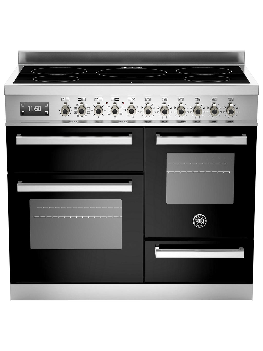 Buy Bertazzoni Professional Series  PRO100-5I-MFE-T-NET-XG 100cm Electric Induction XG Range Cooker, Black Online at johnlewis.com