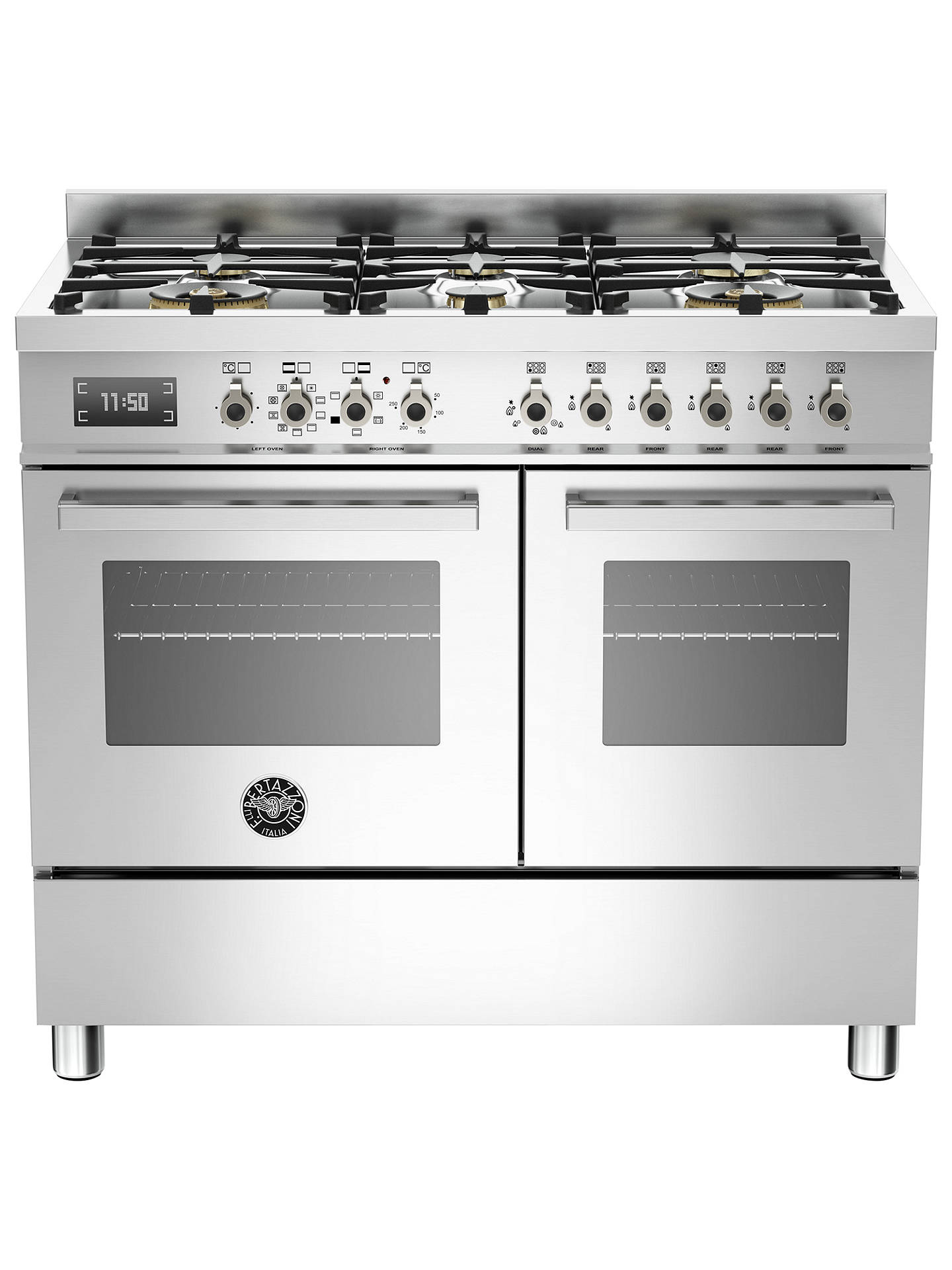 Buy Bertazzoni Professional Series PRO100-6-MFE-D-XT 100cm Dual Fuel Range Cooker, Stainless Steel Online at johnlewis.com
