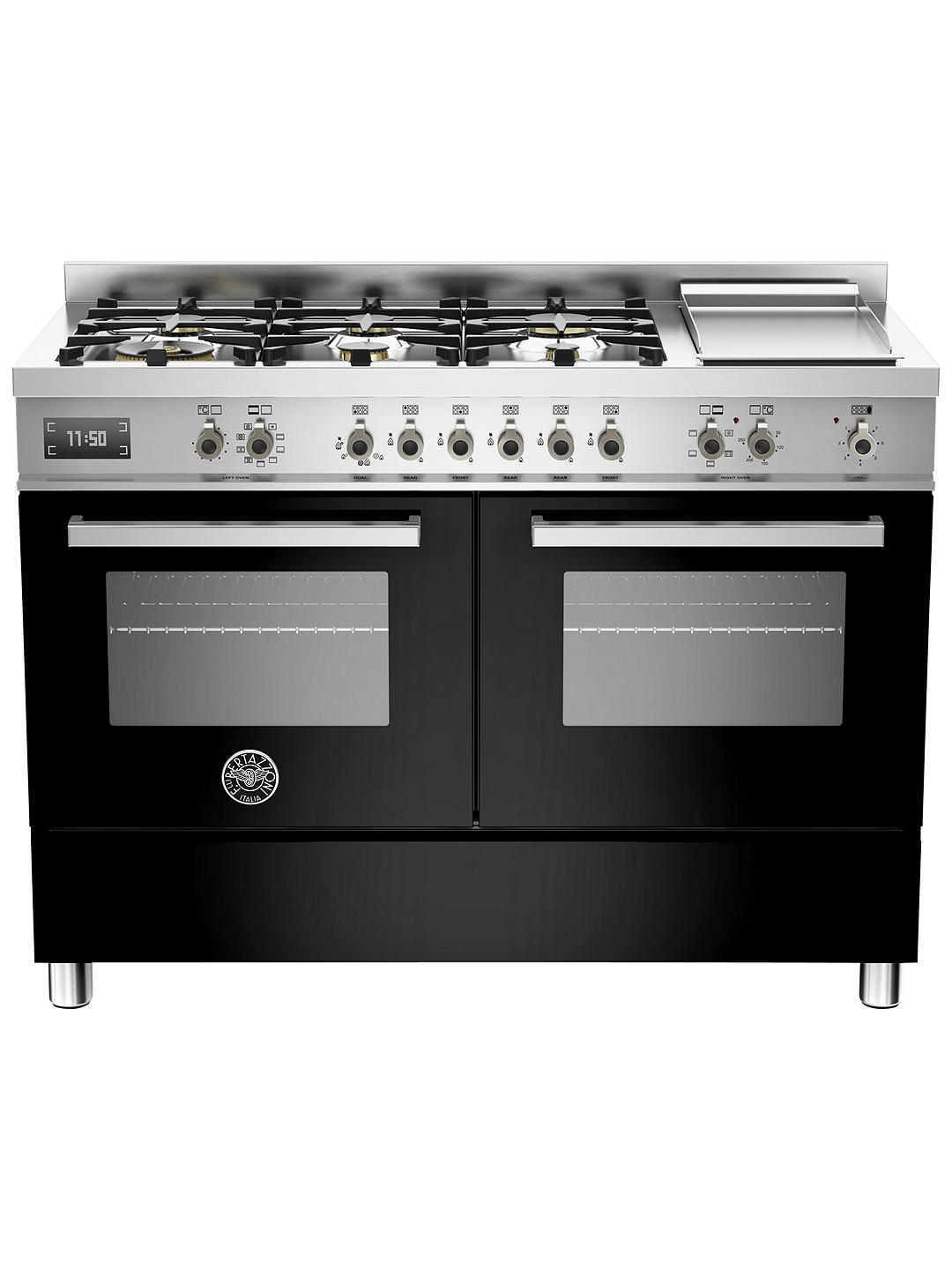 Buy Bertazzoni Professional Series PRO120-6G-MFE-D-NET 120cm Dual Fuel Twin Range Cooker, Black Online at johnlewis.com
