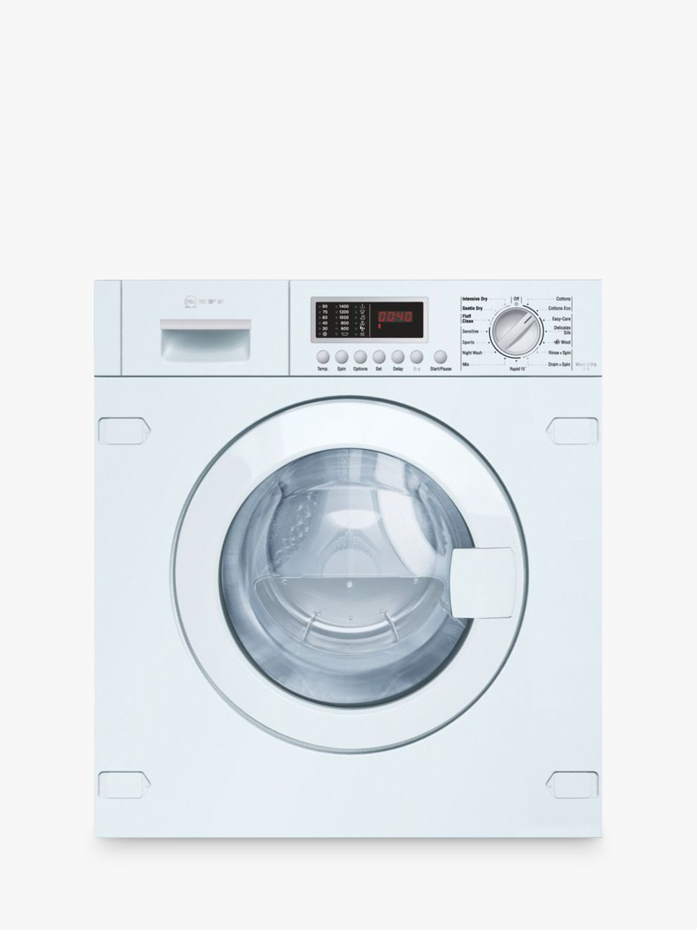 NEFF Neff V6540X1GB Integrated Washer Dryer, 7kg Wash/4kg Dry Load, B Energy Rating, 1400rpm Spin