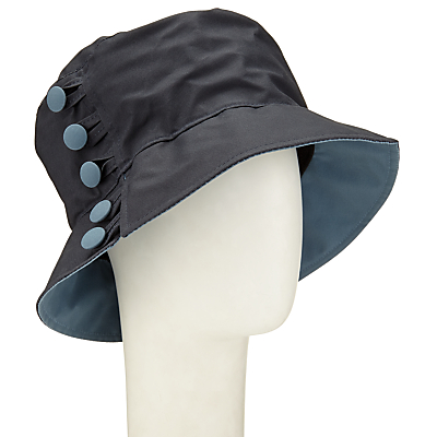 Olney Waxed Cotton Button Rain Hat, Navy/Airforce Blue