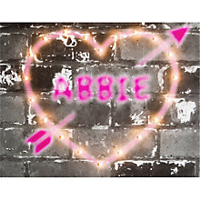 Buy Illuminated Canvas - Personalised Graffiti Heart Canvas, 60 x 40cm Online at johnlewis.com