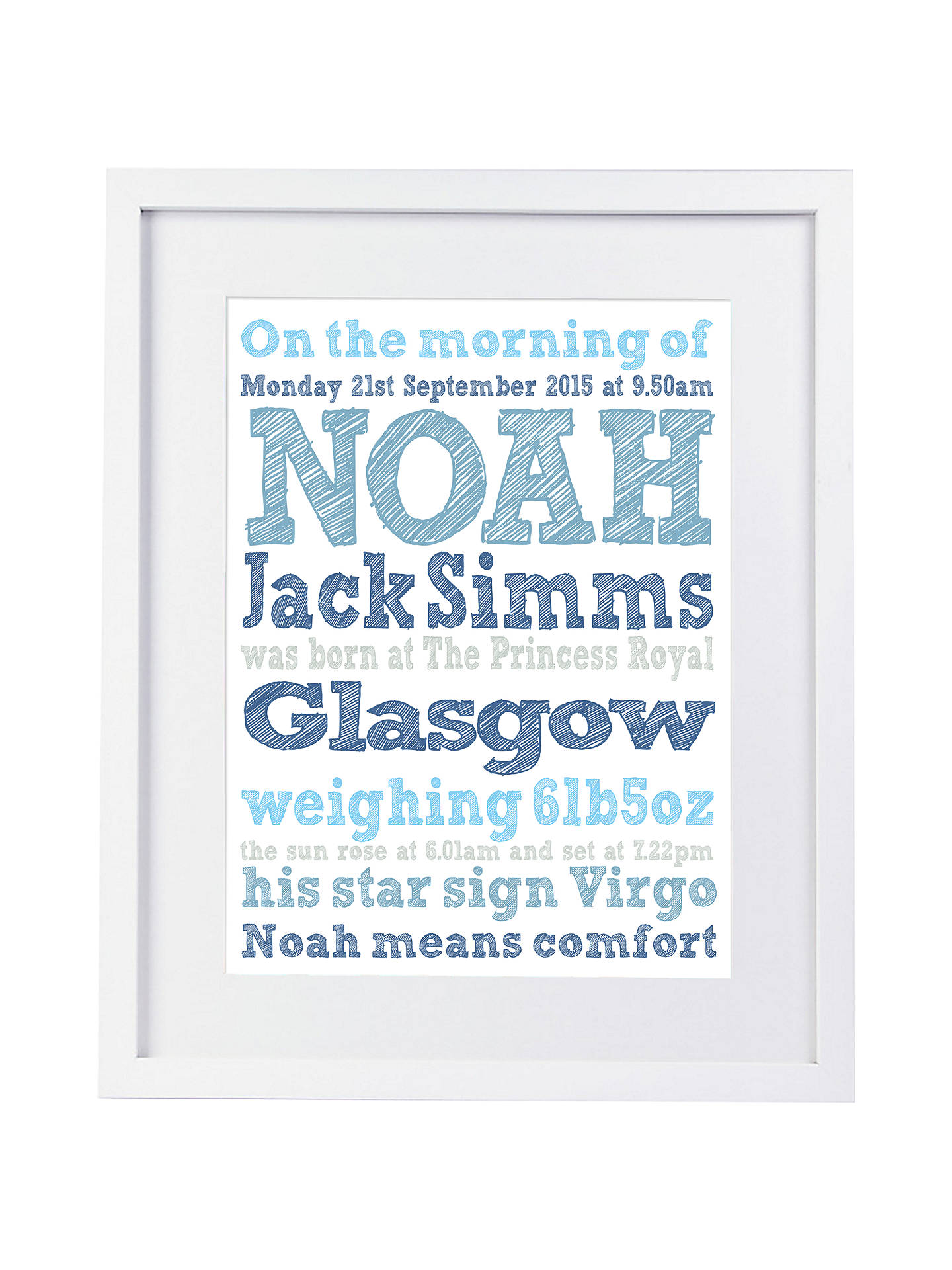 BuyModo Creative Personalised Name Details Framed Print, 25 x 60cm, Blue Online at johnlewis.com