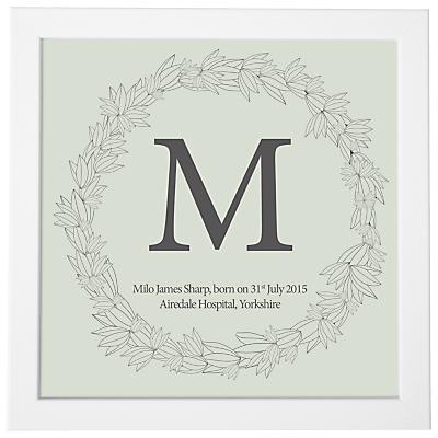 Modo Creative Personalised Name Leaf Wreath Framed Print, 18 x 18cm
