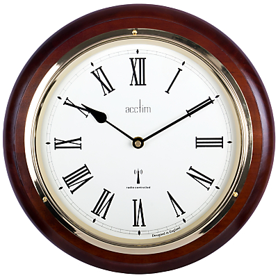Acctim Durham Radio Controlled Wall Clock, Dia.32cm, Mahogany