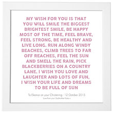 Buy Modo Creative Personalised My Wish Framed Print, 18 x 18cm Online at johnlewis.com
