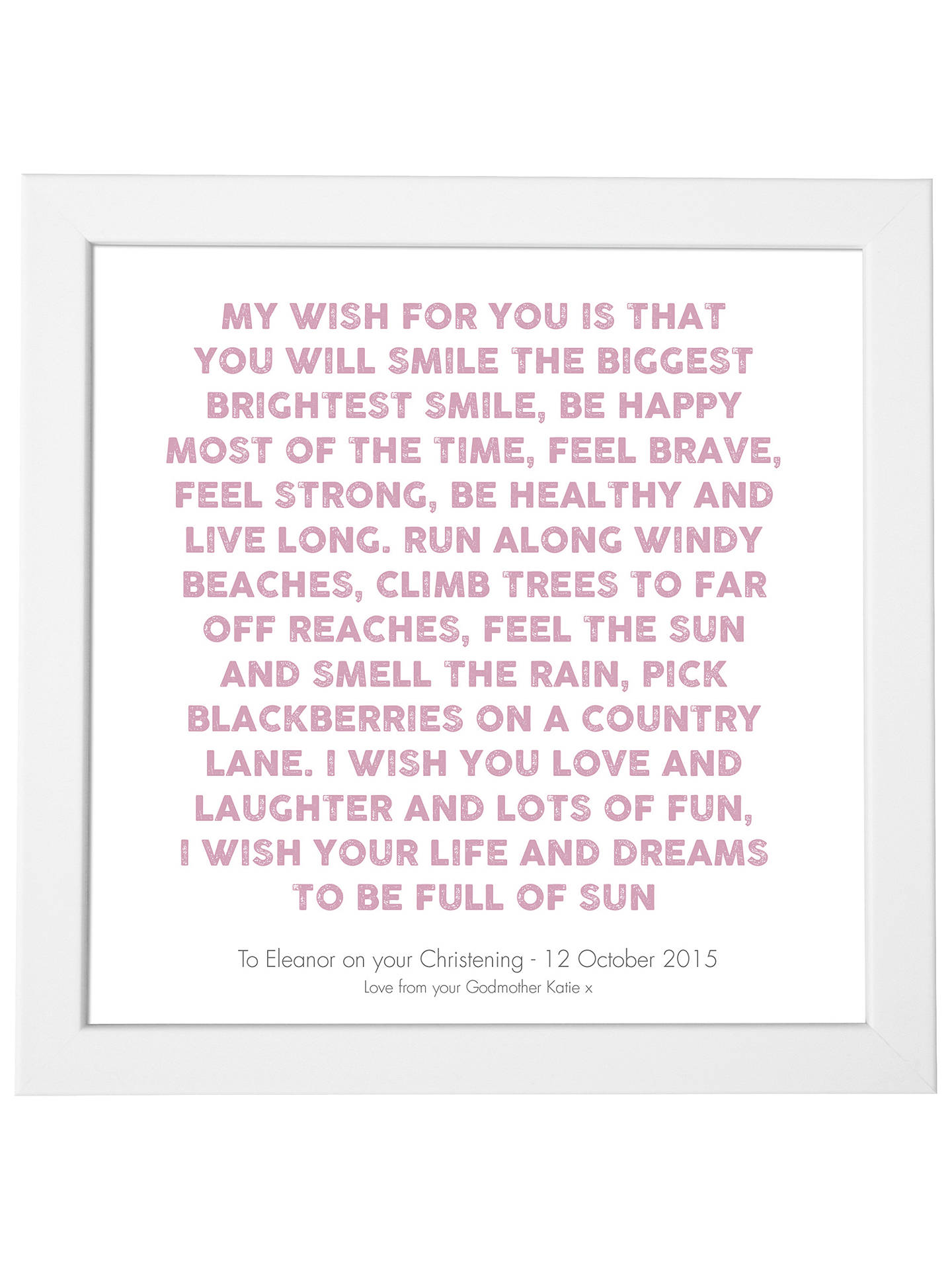 BuyModo Creative Personalised My Wish Framed Print, 18 x 18cm, Mauve Online at johnlewis.com