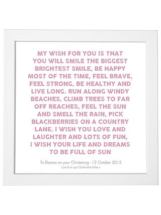 Buy Modo Creative Personalised My Wish Framed Print, 18 x 18cm, Mauve Online at johnlewis.com