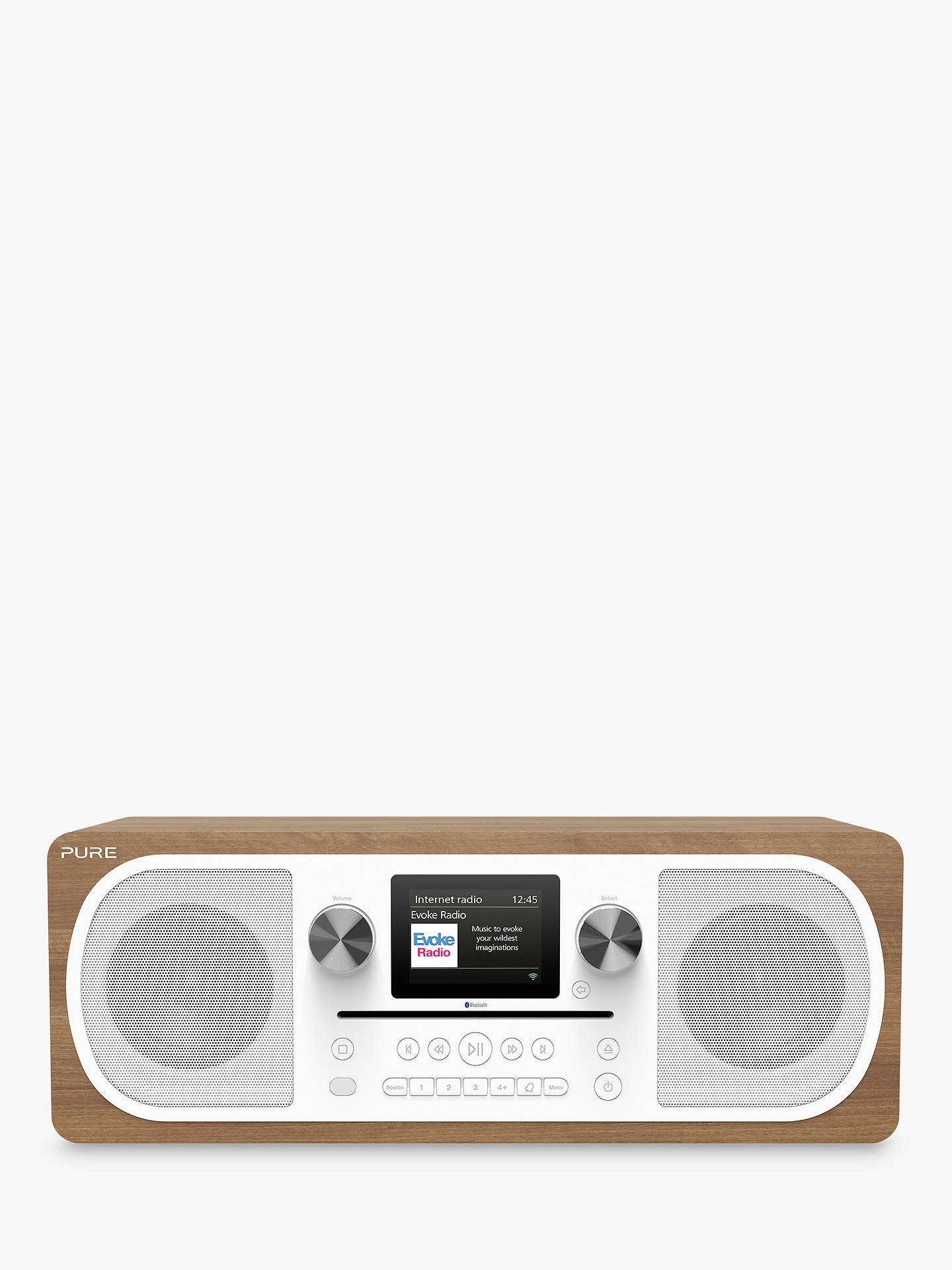 Pure Evoke C-F6 DAB+/FM Bluetooth Internet Stereo All-In-One Smart Music  System With Spotify Connect, Colour Display & Remote Control, Walnut