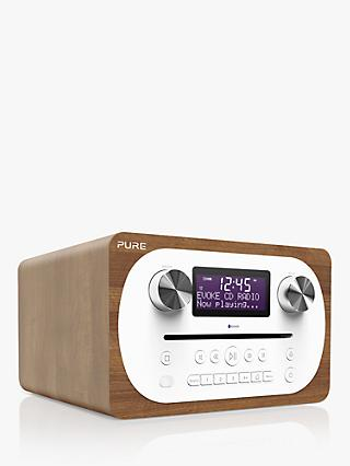 Pure Evoke C-D4 DAB+/FM Bluetooth Compact All-In-One Music System With Remote Control, Walnut