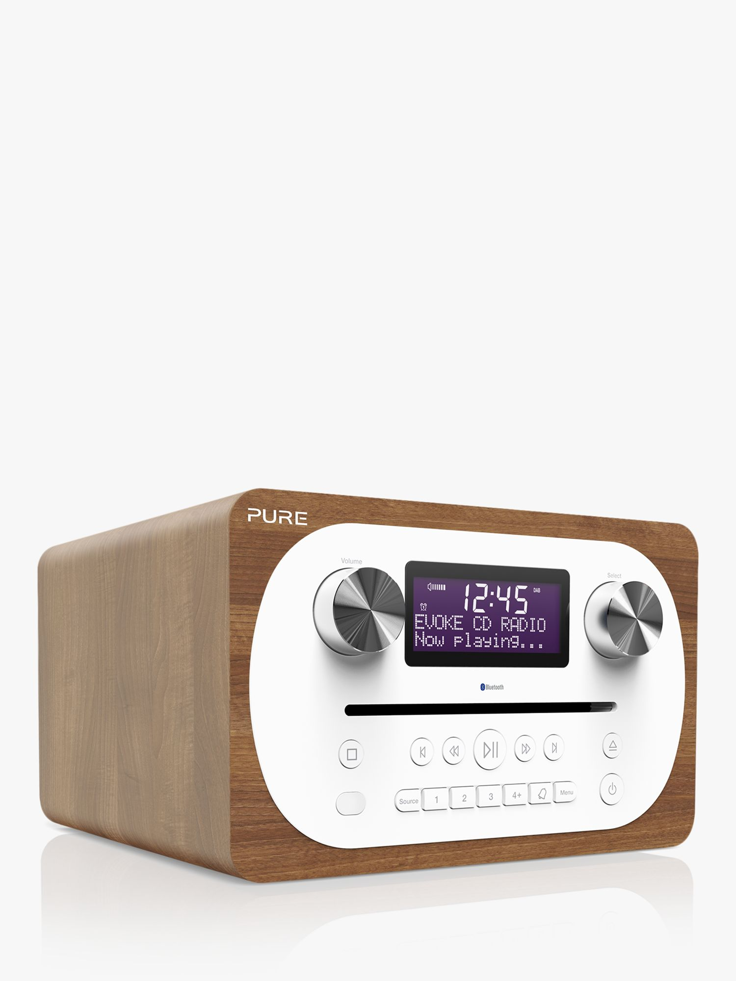 Pure Pure Evoke C-D4 DAB+/FM Bluetooth Compact All-In-One Music System With Remote Control, Walnut