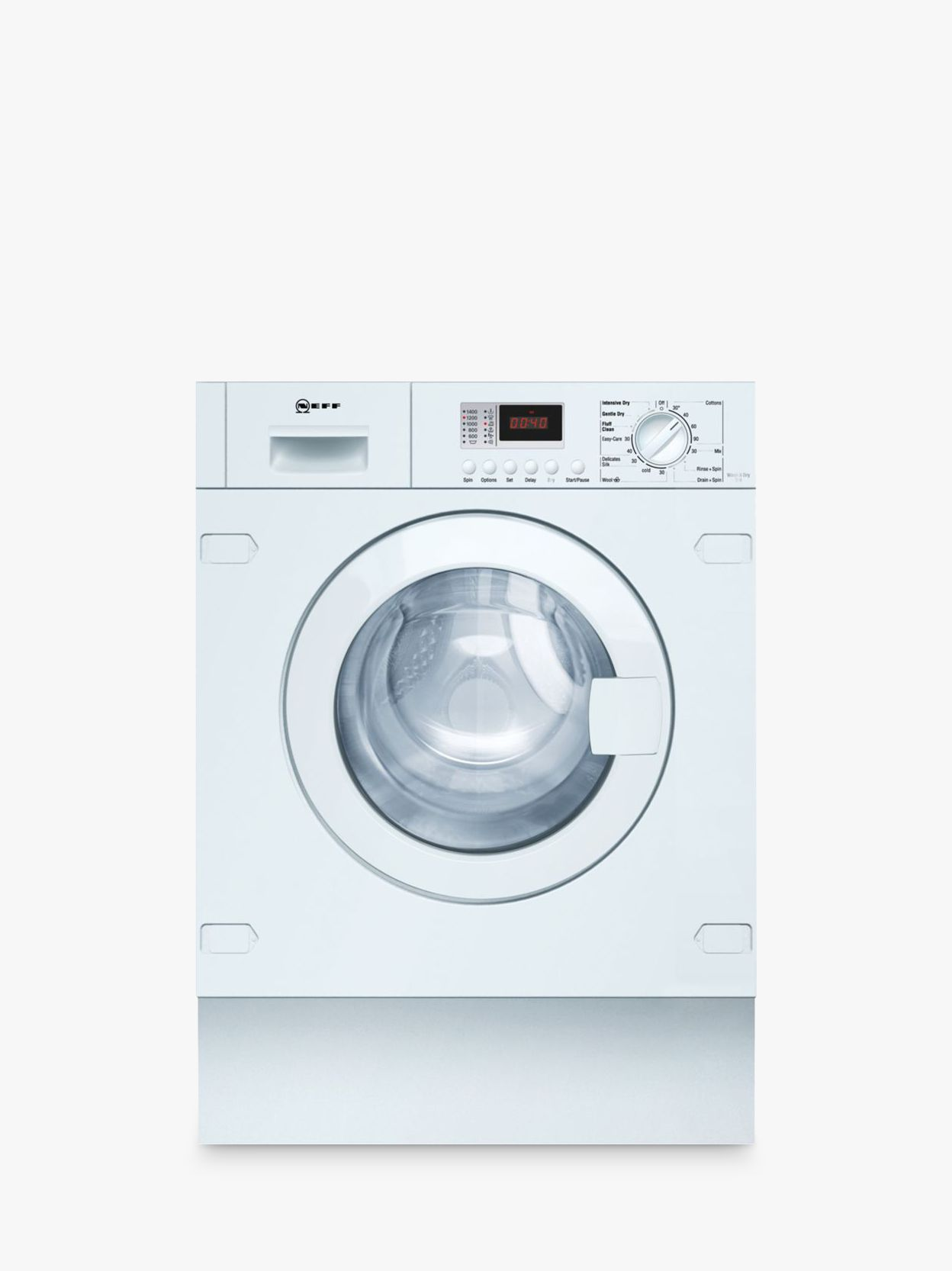 NEFF Neff V6320X1GB Integrated Washer Dryer, 7kg Wash/4kg Dry Load, B Energy Rating, 1400rpm Spin