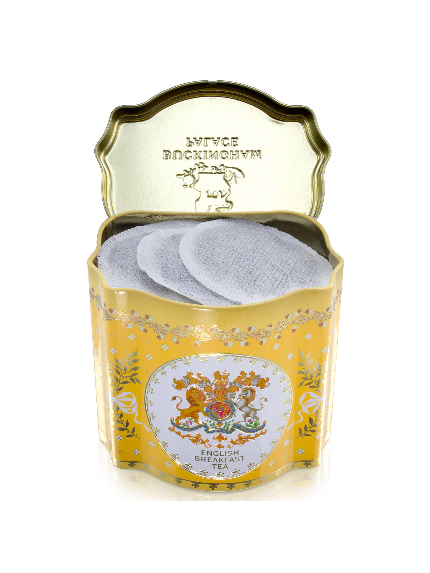BuyRoyal Collection Georgian Tea Caddy with 50 Tea Bags (Variety), Yellow Online at johnlewis.com