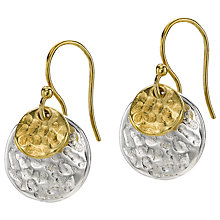 Buy Dower & Hall Sterling Silver and 18ct Gold Vermeil Double Hammered Disc Nomad Drop Earrings, Silver/Gold Online at johnlewis.com