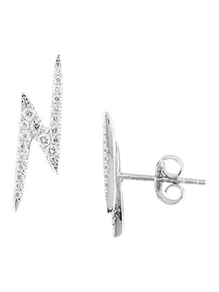 London Road 9ct Whtie Gold Portobello Geo Lightning Zig Zag Diamond Drop Earrings, White Gold