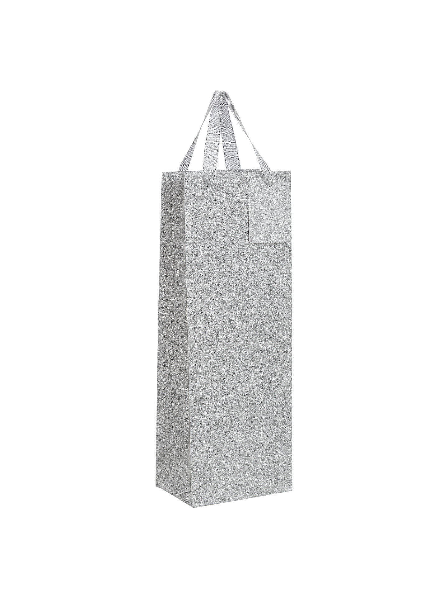 Buy John Lewis & Partners Encapsulated Silver Glitter Gift Bag, Bottle Online at johnlewis.com