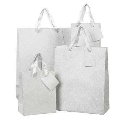 Image of John Lewis & Partners Encapsulated Silver Glitter Gift Bag