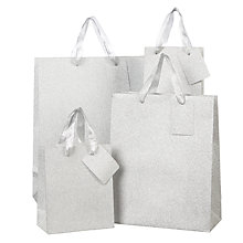 Buy John Lewis Encapsulated Silver Glitter Gift Bag Online at johnlewis.com