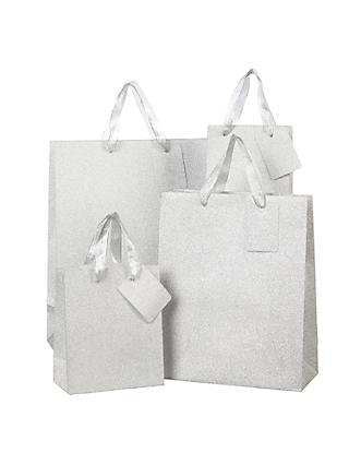 53cad3b9d3 John Lewis   Partners Encapsulated Silver Glitter Gift Bag