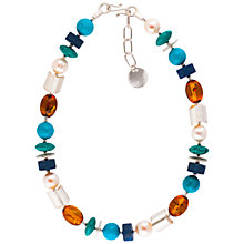 Buy Be-Jewelled Sterling Silver Amber Pearl Turquoise and Lapis Necklace, Multi Online at johnlewis.com