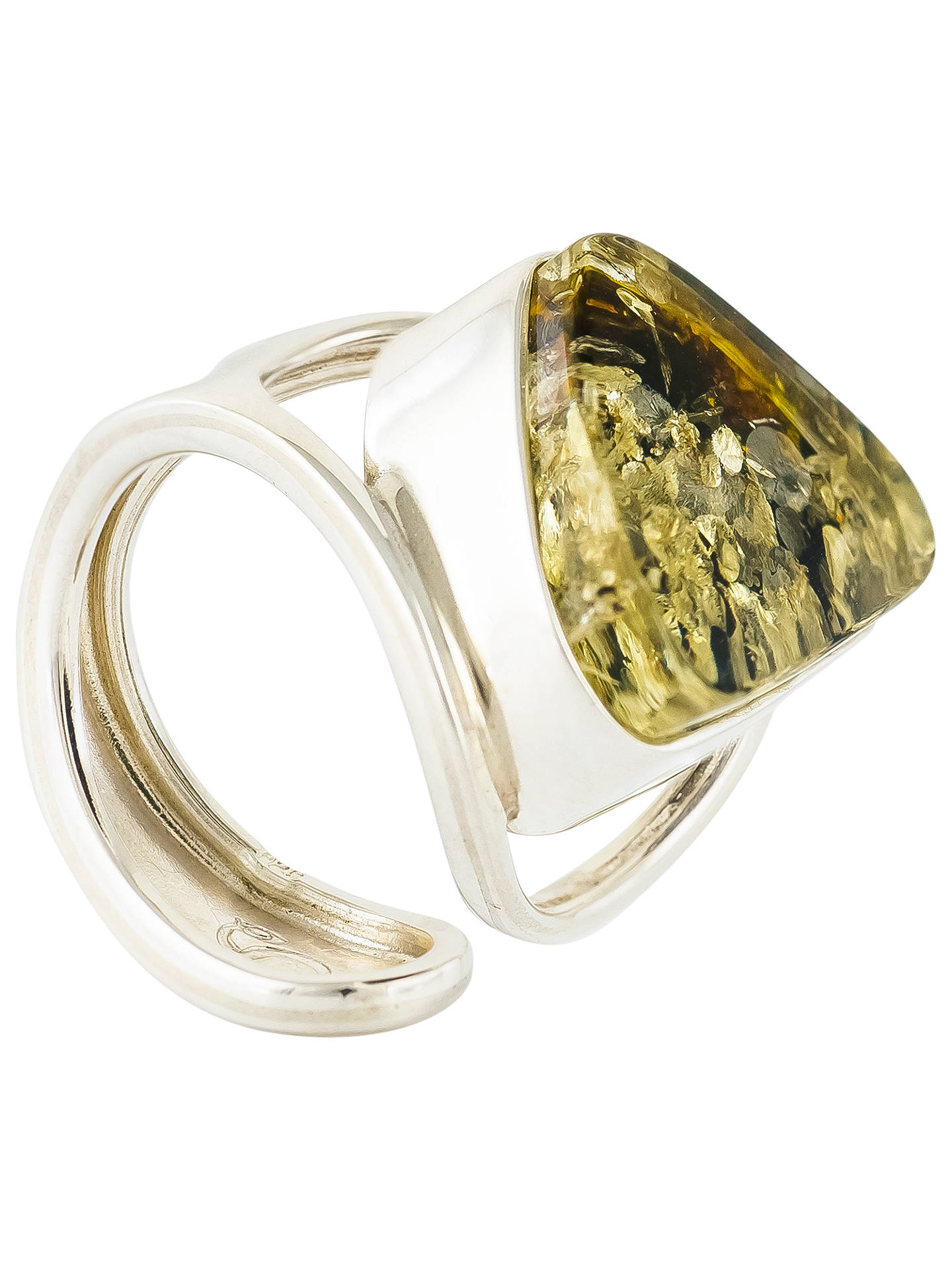 ee9f07a3c Buy Be-Jewelled Sterling Silver Triangular Baltic Amber Ring, Green Online  at johnlewis.