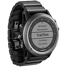 Buy Garmin Fenix 3 Sapphire GPS Multisport Watch, Black Online at johnlewis.com