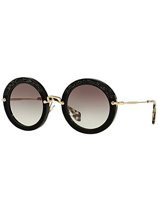 Miu Miu MU80RS Round Metal Frame Sunglasses, Black