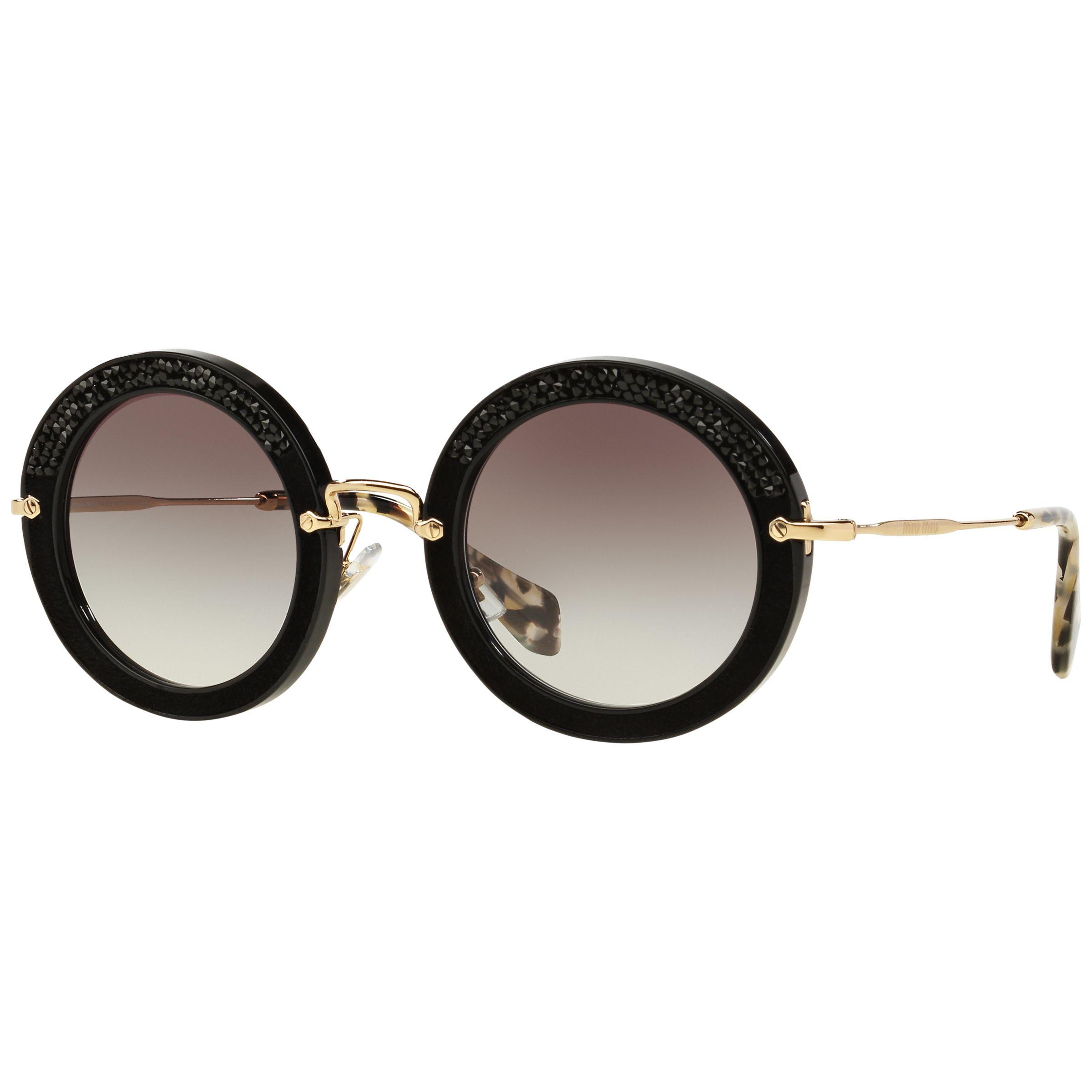 Miu Miu Miu Miu MU80RS Round Metal Frame Sunglasses, Black