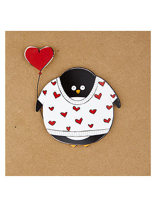 Buy Penguin In A Heart Jumper Valentine's Day Card Online at johnlewis.com