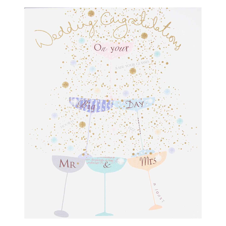 Woodmansterne Champagne Glasses Wedding Card at John Lewis