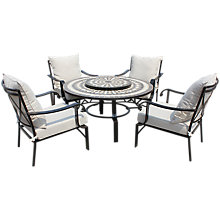 Buy LG Outdoor Casablanca 4-Seater Round Table & Armchair Lounge Set with Firepit & Lazy Susan Online at johnlewis.com