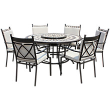 Buy LG Outdoor Casablanca 6-Seater Round Dining Table & Chairs Set with Firepit & Lazy Susan Online at johnlewis.com