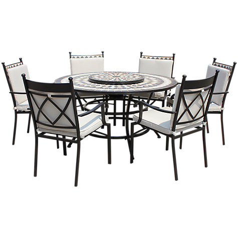buy lg outdoor casablanca 6 seater round dining table chairs set with firepit - Garden Furniture 6 Seater Round