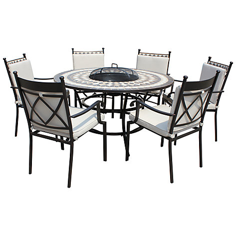 buy lg outdoor casablanca 6 seater round dining table chairs set with firepit