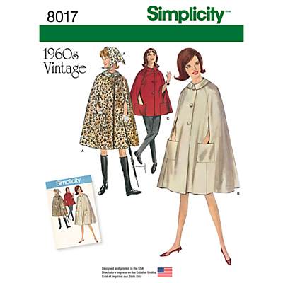 1950s Sewing Patterns- Dresses, Skirts, Tops, Pants Simplicity Misses Womens Vintage 1960s Capes Sewing Pattern 8017 £8.95 AT vintagedancer.com