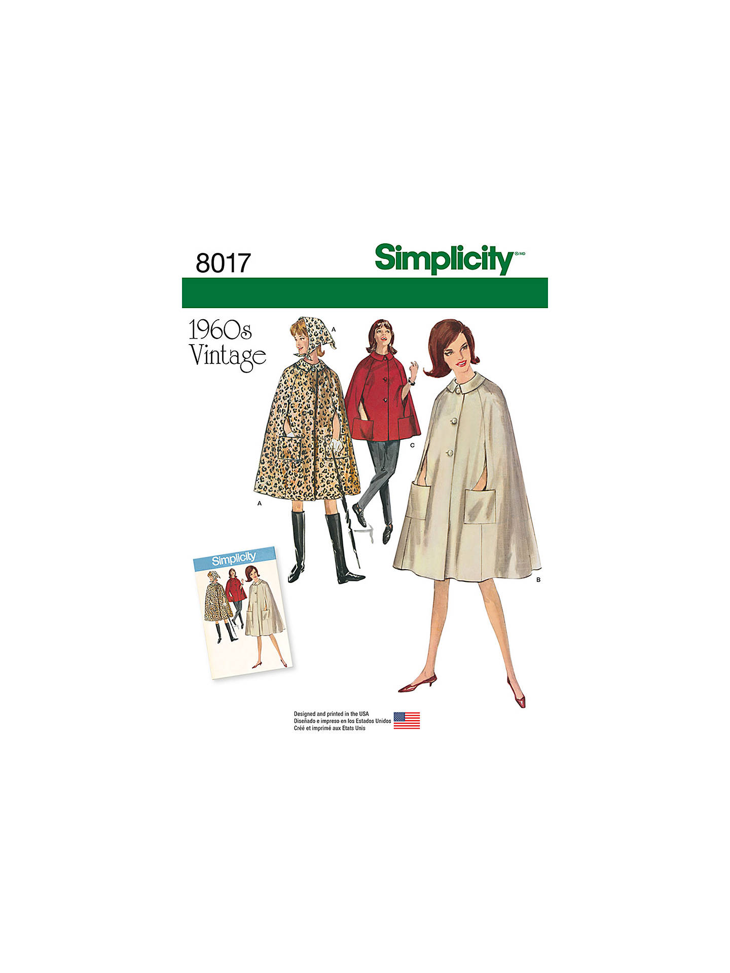 Simplicity Misses\' Women\'s Vintage 1960s Capes Sewing Pattern, 8017 ...